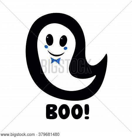 Cute Boy Ghost With Blue Bow Tie And Boo Word. Halloween Greeting Card. Isolated On White Background