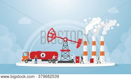 Oil And Gas Concept With Truck Tanker And Oil Refinery Industry With People Around