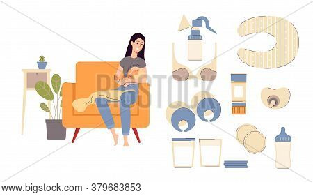 Breastfeeding Set With Nursing Mother Character Flat Vector Illustration Isolated.