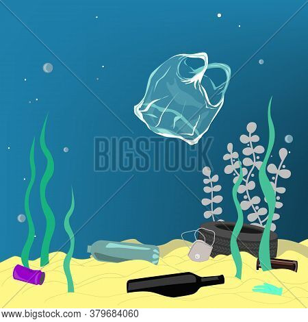 Plastic Pollution Illustration Trash Under The Sea. Different Kinds Of Garbage, Bags, Wastes, Plasti