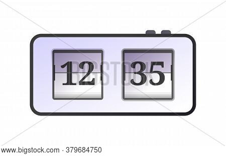 Table Analog Flip Clock. Retro Style Alarm Clock, Time Measuring Device. Conception Of Punctuality A
