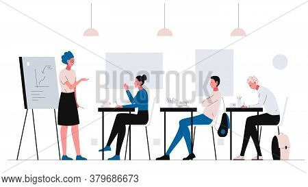 Teacher Conducts A Lesson In The Classroom. Vector Concept Illustration Of Attractive Female Teacher
