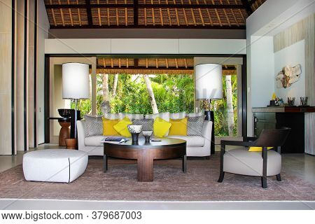 Randheli Island / Maldives - Jen 9 2014: Living Room Interior Of A Luxury Villa Resort In Maldives