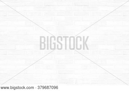 Old White Brick Wall Texture For Background. Abstract Brickwork In Rural Room