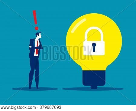 A Man Pondered Next To A Light Bulb With A Lock Locked