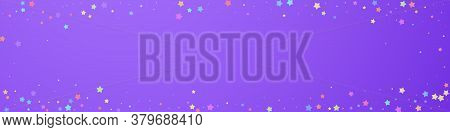 Festive Perfect Confetti. Celebration Stars. Colorful Stars Random On Violet Background. Alluring Fe