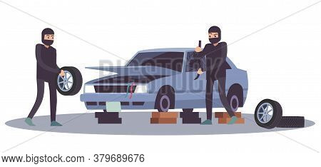Robbery Banditry Looting. Thieves Men Take Apart Car, Crime Damage, Destruction Of Another Property,