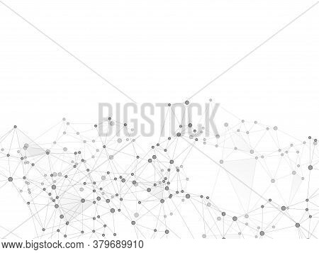 Block Chain Global Network Technology Concept. Network Nodes Greyscale Plexus Background. Global Dat