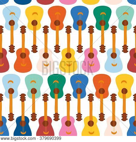 Guitars Seamless Vector Pattern. Repeating Background With Music Colorful Instruments. Cute Illustra