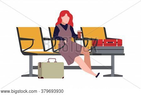 Woman In Airport Arrival Waiting Room Or Departure Lounge. Modern Female Character Sits On Chair And