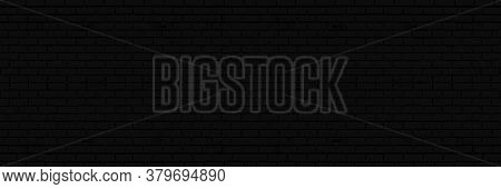 Black Brick Wall Texture, Brickwork For Background Design. Wide Panorama Picture.
