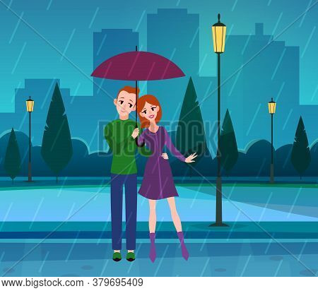 Couple In Love. Romantic Young People In Love Under Umbrella In Park, Rainy Weather, Husband And Wif
