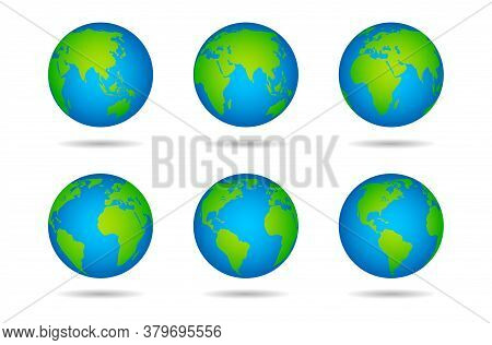 Earth Globe. Sphere World Map With Continents On White Background, Globes From Different Angles, Var