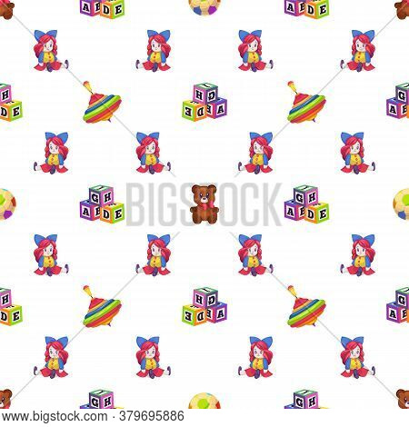Kids Toys. Seamless Pattern Children Playthings Doll, Whirligig And Bear On White Background, Childi
