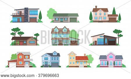 Cottages. Home Facades, Cottage Or Suburban Townhouse, Front View Family Houses With Garage And Terr