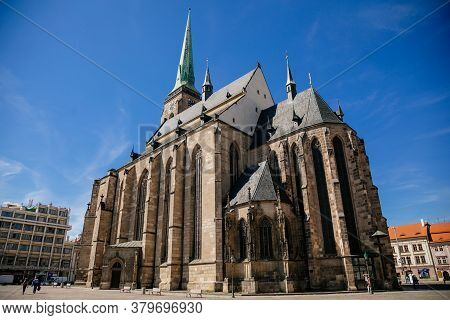 St. Bartholomew's Cathedral On The Main Republic Square Of Plzen, Gothic Church In Old Town In Sunny