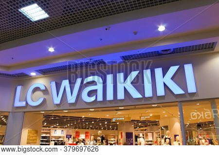 Kyiv, Ukraine - July 29, 2020: Lc Waikiki Retailer Store With Illuminated Logo. Turkish Clothes Bran