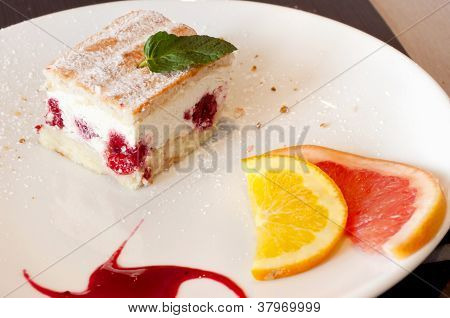 Cake with fruit on a plate