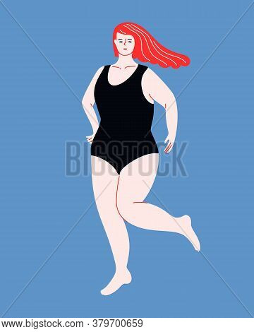 Beautiful Plus Size Woman With Flutter Red Hair In One Piece Swimsuit. Body Positive Flat Vector Ill