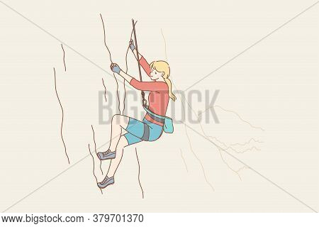 Sport, Mountaineering, Tourism, Adventure, Danger, Activity Concept. Young Woman Girl Athlete Cartoo