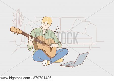 Education, Creativity, Learning, Training, Play, Music Concept. Young Man Guy Cartoon Character Sitt