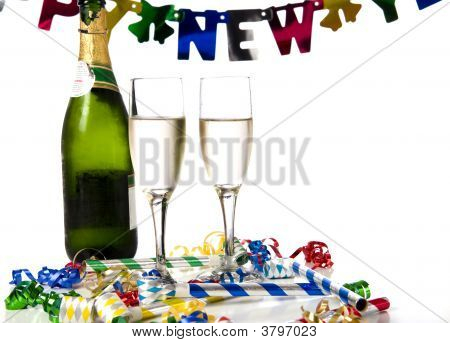 New Years ever party with champagne noisemakers ribbons on a white background poster