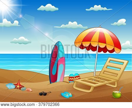 Cartoon Illustration Of Summer Tropical Beach Background