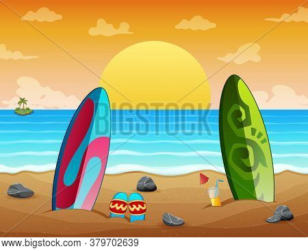 Summer Holiday Sunset Beach Scene With Surfboards On Sand