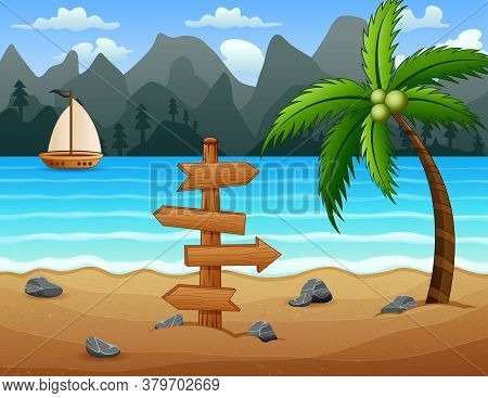 A Boat On The Tropical Beach Illustration