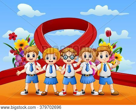Happy Youth Day With School Children Illustration