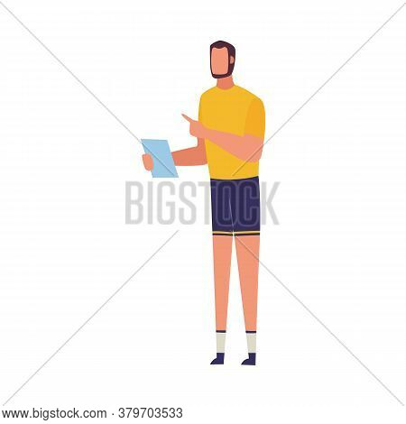 Cartoon Fit Sport Trainer Reading Fitness Plan From Paper And Pointing A Finger