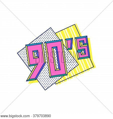 90s Digits On Banner In Retro Pop Art Style Vector Illustration Isolated.
