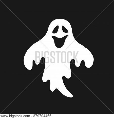 Halloween Scary Ghost. Hand Drawn Vector Illustration On Dark Background