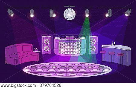 Night Club Interior With Empty Dance Floor, Spot Lights, Dj Booth