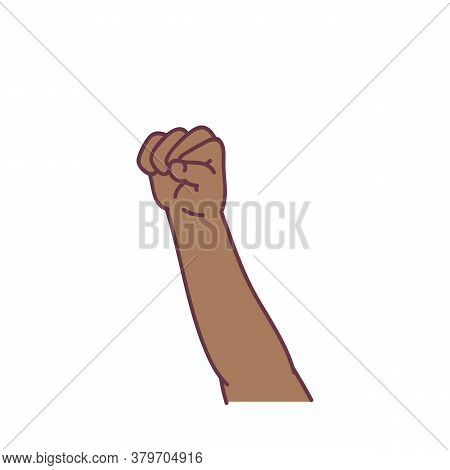 Clenched Fist Held High In Protest Gesture Sketch Vector Illustration Isolated.