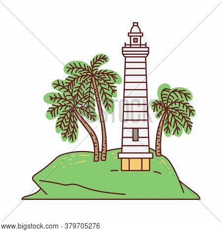 Galle Lighthouse - Sri Lanka Landmark Sketch Cartoon Vector Illustration Isolated.