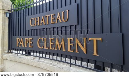 Bordeaux , Aquitaine / France - 07 30 2020 : Chateau Pape Clement Logo And Text Sign On Facades Of O