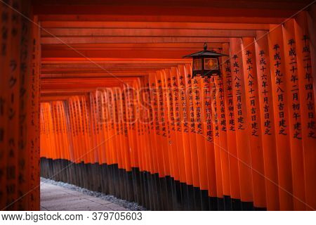 Kyoto, Japan - October 4, 2012: Torii At Fushimi Inari-taisha Shrine. The Shrine Sits At The Base Of