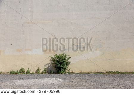 Distressed Light Yellow Brown Old  Brick Wall Street Art. Background And Painted Lines And Draw. Abs