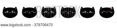 Black Cat Head Face Set. Cute Funny Cartoon Kawaii Characters. Emotion Collection. Happy, Surprised,