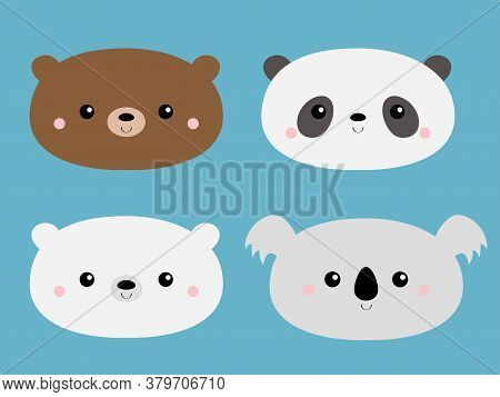 Cute Bear Set. Grizzly, Panda, Koala, Polar Cub. Funny Head Face. Kawaii Cartoon Character. Happy Va