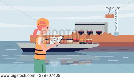 Ship Port Worker In Industrial Uniform Using Tablet For Shipping And Export Work.