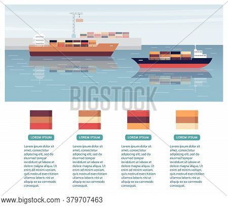 Cargo Export Shipping Banner With Ships, Flat Vector Illustration Isolated.