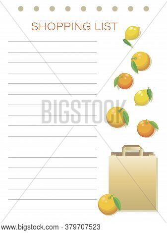Shopping List. Citruses. Vector Personalized Shopping List. Simple Flat Design Memo Pages. To Do. Da
