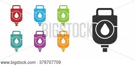 Black Iv Bag Icon Isolated On White Background. Blood Bag. Donate Blood Concept. The Concept Of Trea