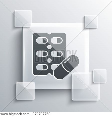 Grey Pills In Blister Pack Icon Isolated On Grey Background. Medical Drug Package For Tablet, Vitami