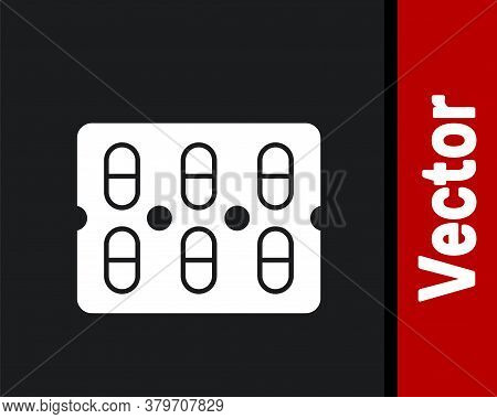 White Pills In Blister Pack Icon Isolated On Black Background. Medical Drug Package For Tablet, Vita
