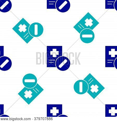 Blue Medical Prescription Icon Isolated Seamless Pattern On White Background. Rx Form. Recipe Medica