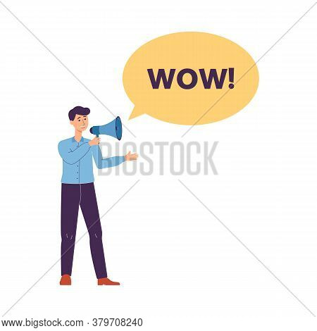 Man Shouting In Loudspeaker - Wow Sale Banner, Flat Vector Illustration Isolated.