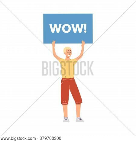 Happy Man Holding Wow Sign - Cartoon Guy With Surprise Promotion Banner